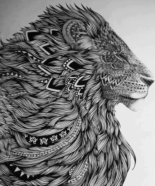 Dessin de lion très original car il n'y a pas de couleurs ( noir et blanc). Et aussi car dans la crinière du lion nous pouvons voir des plumes, ce qui montre que le lion est vraiment le roi des animaux même des animaux à plumes.