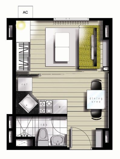 25sqm Floor Plan for studio  = about 270 square feet  or about 15 x 15