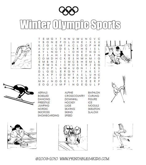 Winter Olympic sports printable word search : Printables for Kids – free word search puzzles, coloring pages, and other activities