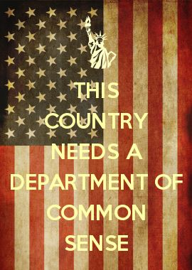 THIS COUNTRY NEEDS A DEPARTMENT OF COMMON SENSE