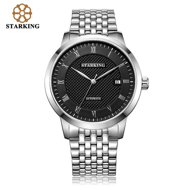 STARKING Mens Dress Watch Automatic Mechanical Calendar Role Watches Male Stainless Steel Leather Simple Wrist Watches AM0187