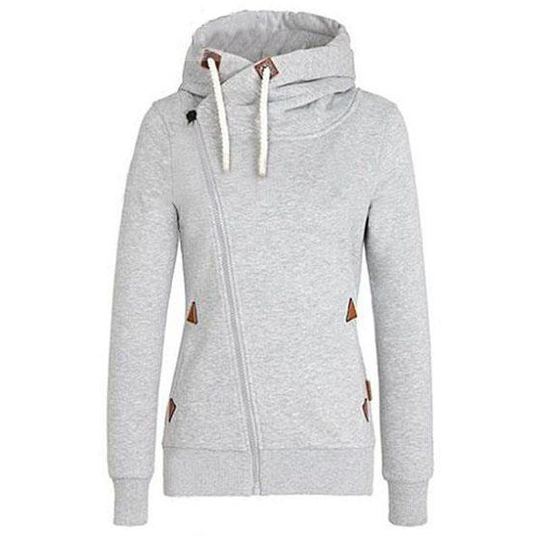 db20156da2 Chic Hooded Long Sleeve Pure Color Hoodie For Women