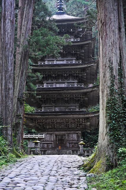Gojū-tō (五重塔) five story pagoda on Mount Haguro, Yamagata Prefecture by GrafixTherapy, via Flickr