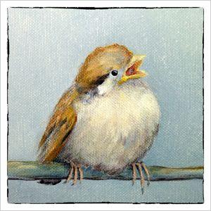 Schilderij jong musjes afgedrukt op luxe dubbele kaart. Kunstenares Fenna Moehn