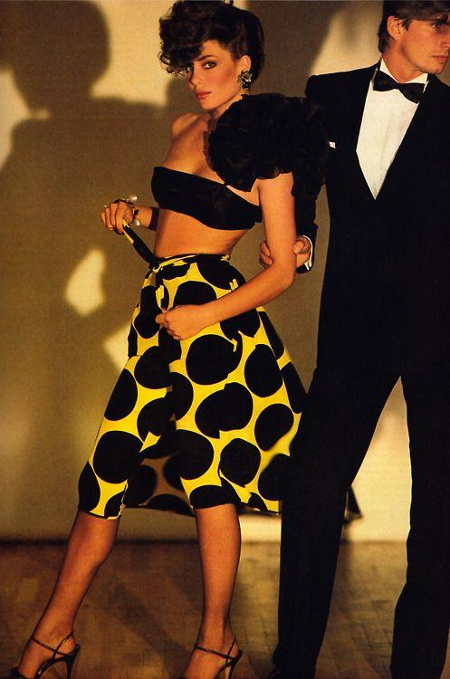 Valentino, American Vogue, April 1981. Photograph by Patrick Demarchelier; makeup by Tyen.