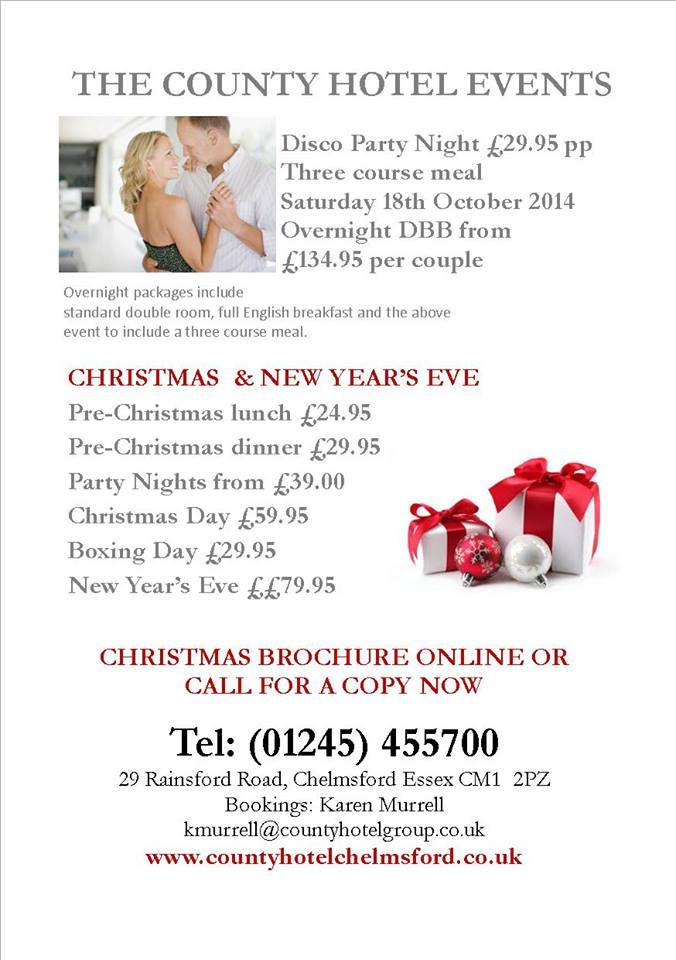 By County Hotel Chelmsford @countyhotel Invitations to our October and Christmas parties... http://www.countyhotelchelmsford.co.uk/