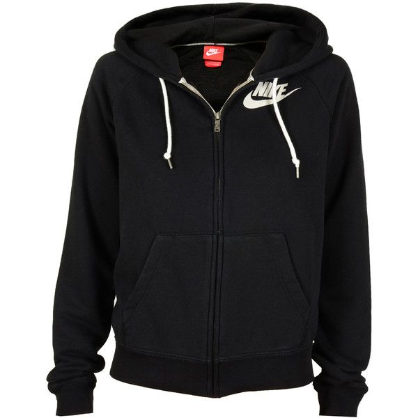 Nike Wmns Rally Zip Hoodie Schwarz ($67) ❤ liked on Polyvore featuring tops, hoodies, jackets, outerwear, sweaters, athletic, zip hooded sweatshirt, zip hoodies, zipper hoodie and zip up hoodie