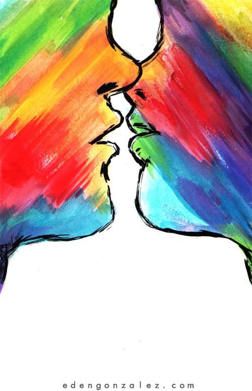 Rainbow Kiss By Eden Gonzalez Kisses Gay Art Gay