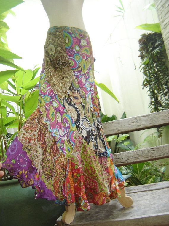 Soft Cotton Patchwork Skirt - OM2901    This skirt made of floral printed soft cotton patchwork. The piece is very comfortable, back elastic