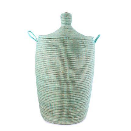 African Basket Hamper - Aqua - Medium