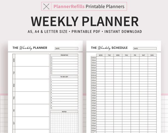 Weekly Planner 2021 2022 Printable Weekly Agenda Template Etsy Weekly Planner Weekly Planner Inserts Weekly Planner Template