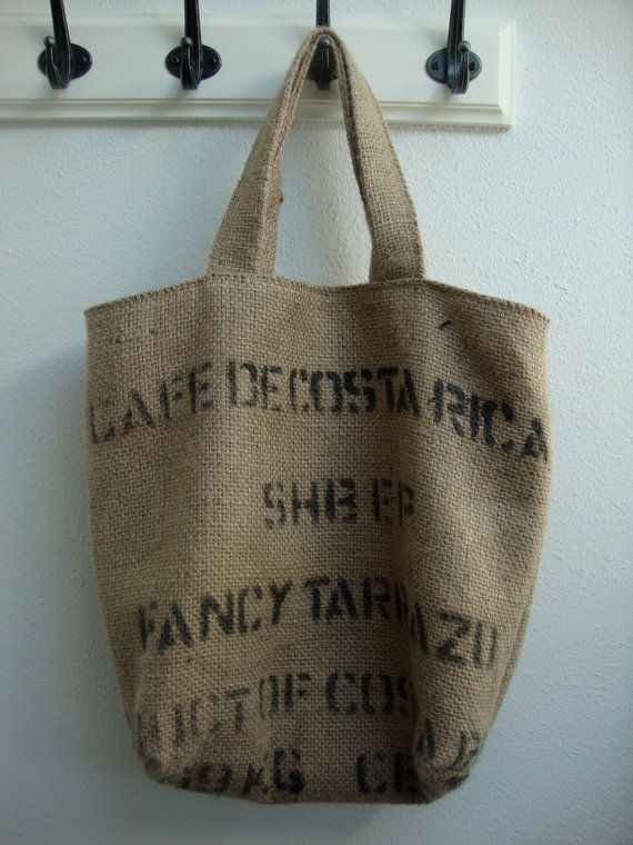 Upcycled Burlap Coffee Bag Tote
