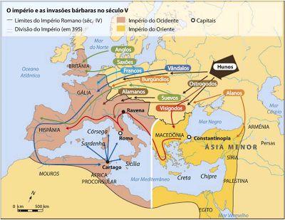 """""""Invasões Bárbaras"""" no Império Romano. Durante a segunda guerra mundial, a  historiografia enfatiza a """"queda"""" do império e a """"decadência"""" de uma civilização sofisticada e o início de um período sombrio da Europa - conectando a Alemanha nazista a uma origem germânica sanguinária. Com a derrota de Hitler e a busca por uma unidade européia no pós-guerra, re-leituras enfatizam as idéias de """"transição"""" e até mesmo """"continuidade"""" na passagem do período clássico à Alta Idade Média."""