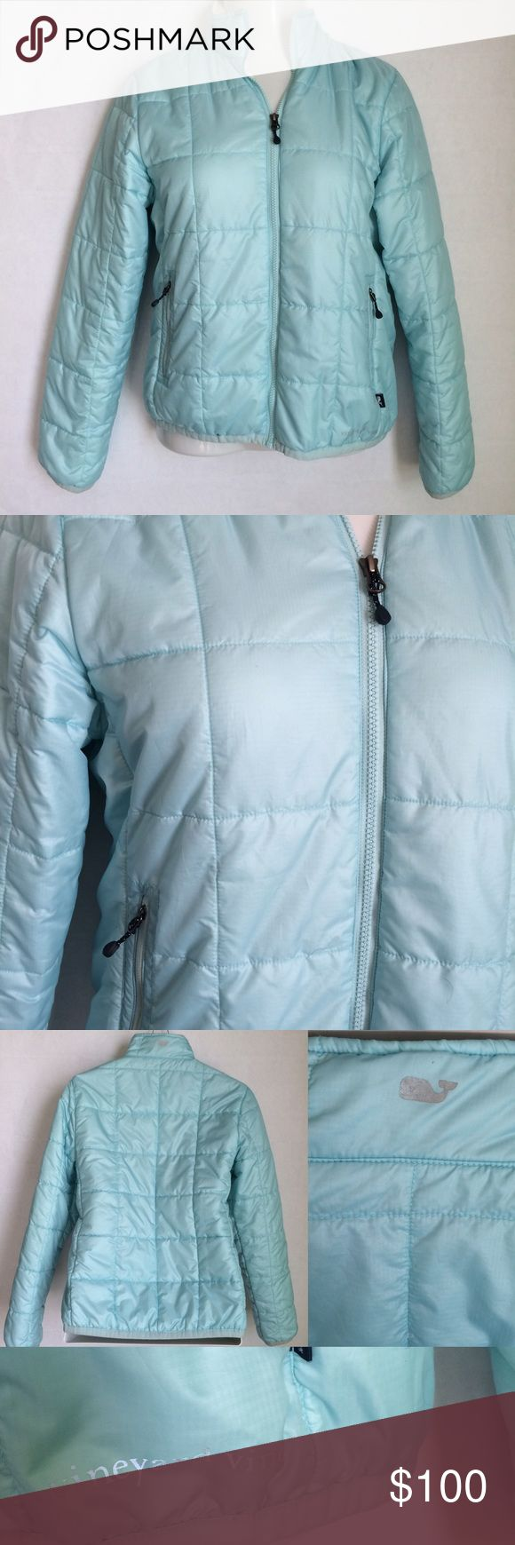 ✨NEW Listing✨Vineyard Vines quilted jacket Vineyard Vines Primaloft quilted jacket in a pretty aqua / sea glass color. A great ripstop puffer jacket with zip front and two front zipper pockets. Insulated with PrimaLoft® for lightweight warmth and comfort all season. Signature text logo on left hip and whale logo on back collar. Size M. 100% polyester. Not interested in trades. Vineyard Vines Jackets & Coats Puffers