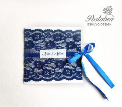 Kék csipkés esküvői meghívó