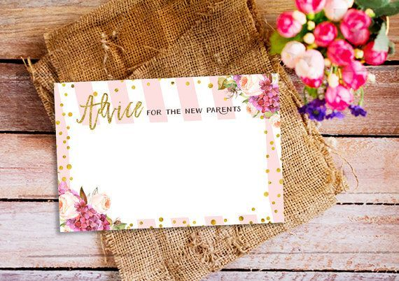 pink and gold advice for the new parents, advice for the new parent cards, baby shower activity, printable baby shower advice card