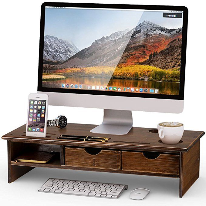 Tribesigns Monitor Stand Riser With Storage Organizer Drawers Bamboo Review Monitor Stand Monitor Riser Organize Drawers