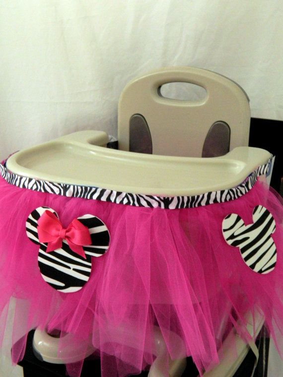 Zebra Minnie Mouse Highchair Tutu Decoration--CUSTOMIZABLE-- FREE SHIPPING on Etsy, $21.99