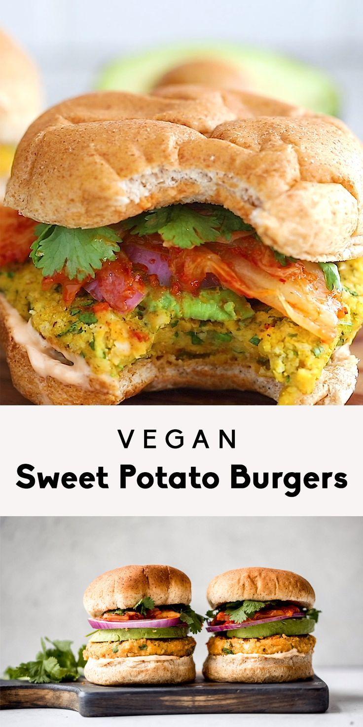 Vegan Sweet Potato Burgers Recipe In 2020 Vegan Sweet Potato Burger Vegan Sweet Potato Sweet Potato Burgers