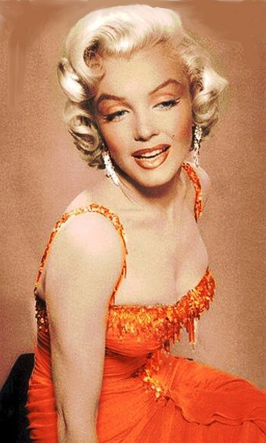 Marilyn in her coral dress from Gentlemen Prefer Blondes; one of my favorite of her costumes