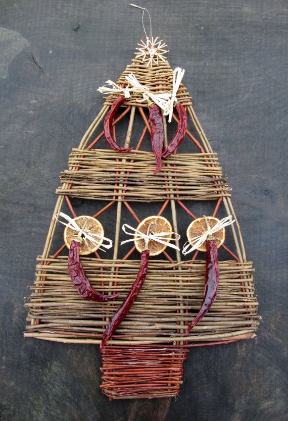 Large flat handwoven christmas tree decoration made by SalixArts, £25.00