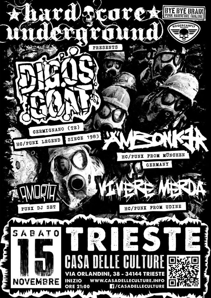 15/11/2014 - HARDCORE UNDERGROUND: DIGOS GOAT (TE) + ÄMBONKER (MÜNCHEN, GERMANY) + VIVERE MERDA (UD) + AmorTh Punx DJ Set Live @CdC, Trieste #hardcorepunk #punkflyers #hardcoreundergroundts #digosgoat #ämbonker #viveremerda #amorth #punk #live #fvg #casadelleculture #trieste