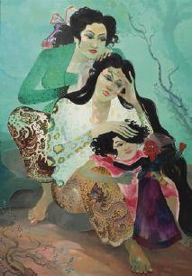 Hendra Gunawan (1918-1983), Mentjari Kutu Rambut, olieverf op doek op paneel, 133 x 93 cm.