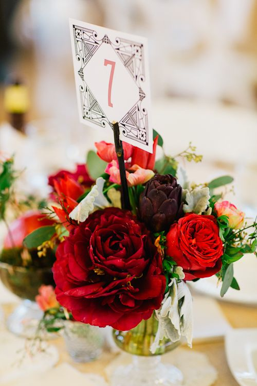 Deep red table decor for wedding in Brooklyn, New York with photos by Priya Patel Photography | junebugweddings.com