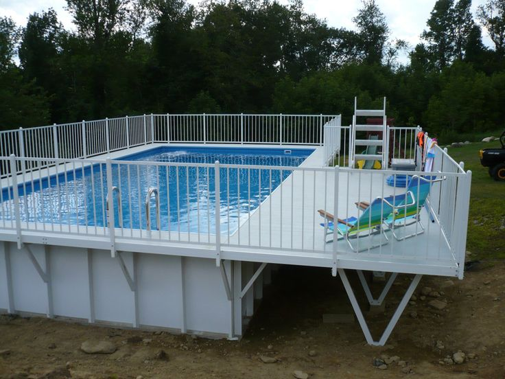Kayak pool with deck above ground pool decks pinterest for Above ground pool decks for sale