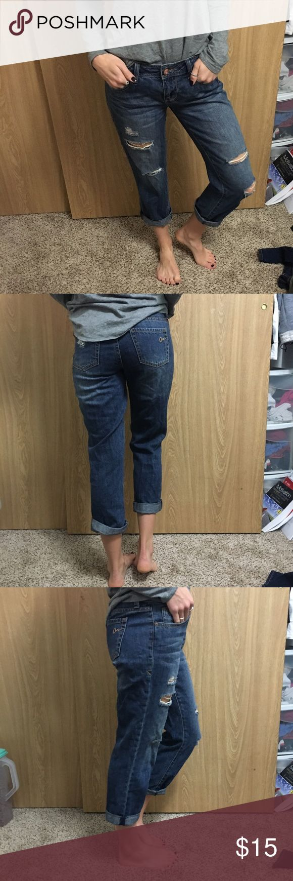 Boyfriend Ripped Jeans American Rag boyfriend jeans, only worn a couple times! Great condition. Super comfortable and cute with any casual shirt and boots! Size 3. American Rag Jeans Boyfriend