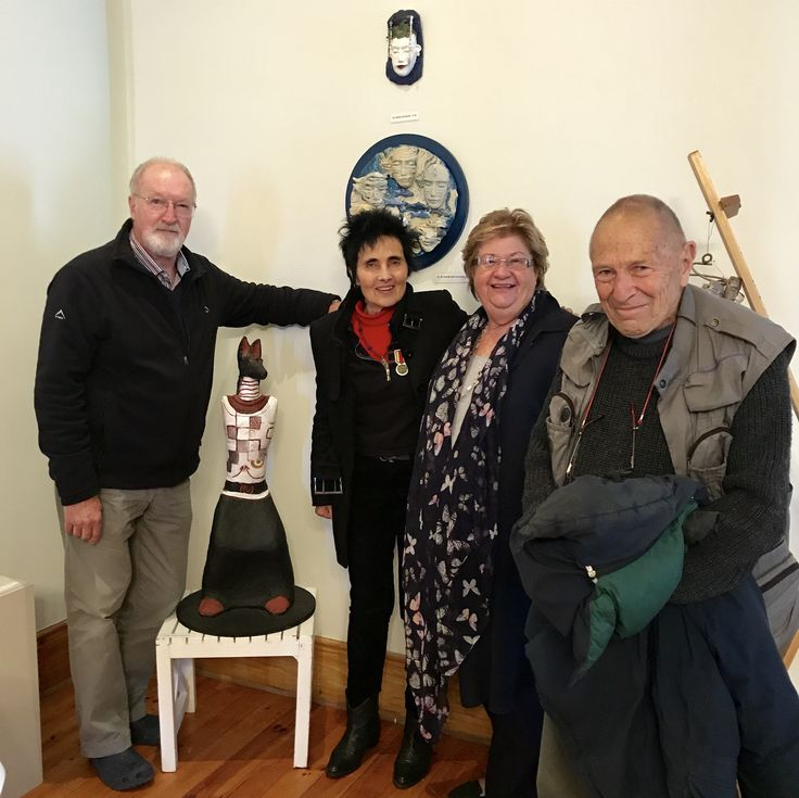 Hermanus FynArts legacy award winner David Goldblatt with Marius and Evette Weyers and festival director Mary Faure. Photo taken at Evette's exhibition at The Marine Hotel.