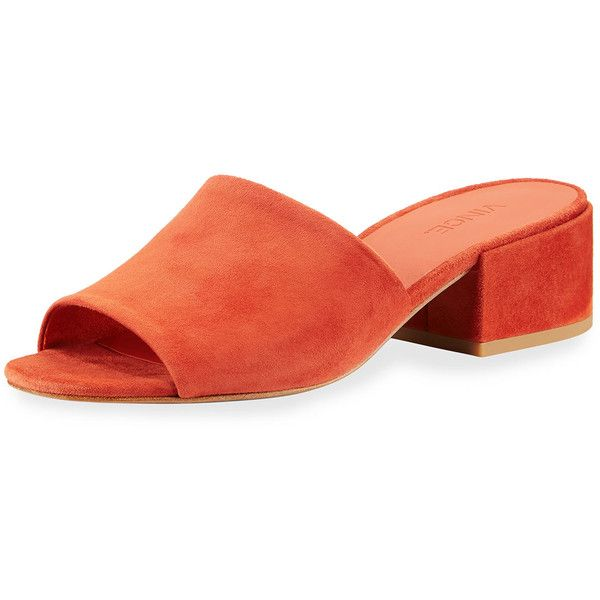Vince Rachelle 2 Suede Block-Heel Mule Sandal (€115) ❤ liked on Polyvore featuring shoes, sandals, dark orange, suede shoes, vince sandals, block heel shoes, suede mules and mule shoes