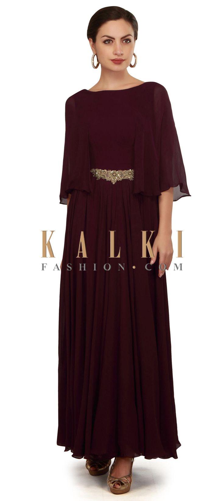Brown dress featuring in fancy sleeve only on Kalki