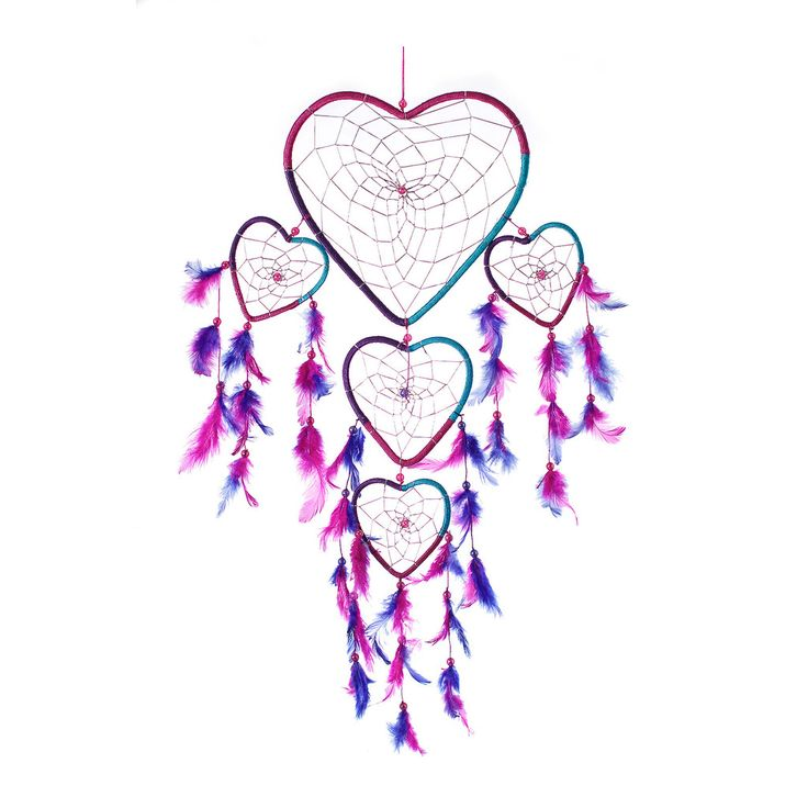 """Dream Catcher ~ Handmade Aqua, Pink & Purple Heart Shape 8.5""""W x 24""""L.  Native American dream catcher decor is believed to give its owner good dreams. Ideal for kids bedroom. Shop our entire gift collection of handmade dream catchers http://www.amazon.com/dp/B00LMRFZQ4"""