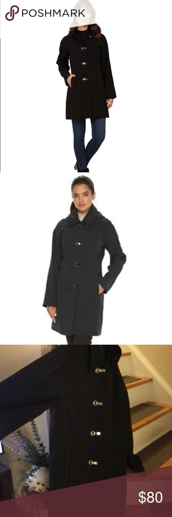 London Fog Black Trench rain coat women's Sz XL Excellent condition. Worn less than a handful of times. Gorgeous deep true black rain/trench coat by London Fog. WOMENS size XL. Nice weight. This is not a flimsy coat.   Nicely covers down to just above knee to keep you as dry as can be! Removable button hood. One button was replaced but not noticeable. Beautiful shiny silver buckle clasps. Easy to put on and take off. Nice deep pockets. Love this coat - just cleaning out closet. You won't be…