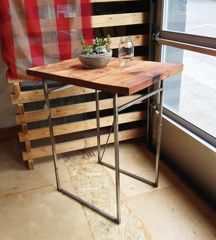 Reclaimed Wood Breakfast Nook Table | A tiny table with big potential. This breakfast nook table is ... | Desks