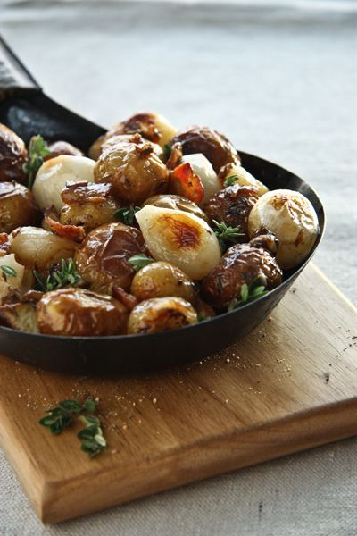 Roasted Potatoes w/ Bacon, Pearl Onions, and Sherry