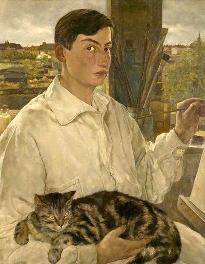 Self Portrait with a Cat, 1938 by Swedish German painter Lotte Laserstein #womensart