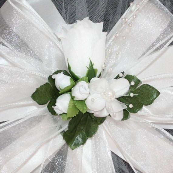 Classique blanc Rose mariage Pew arcs  décorations de