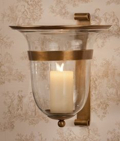 GU743   Antique Brass Drop Wall Sconce   Candle Holder