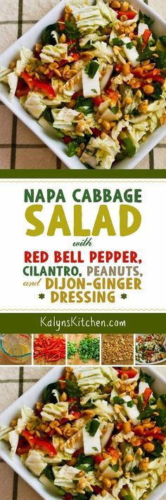 It's the dressing that makes this Napa Cabbage Salad with Red Bell Pepper, Cilantro, Peanuts, and Ginger-Dijon Dressing so amazing, and this tasty salad is low-carb, Keto, low-glycemic, gluten-free, dairy-free, vegan, and South Beach Diet friendly! [found on KalynsKitchen.com] #NapaCabbage #Salad #LowCarb #Keto #GlutenFree #Vegan