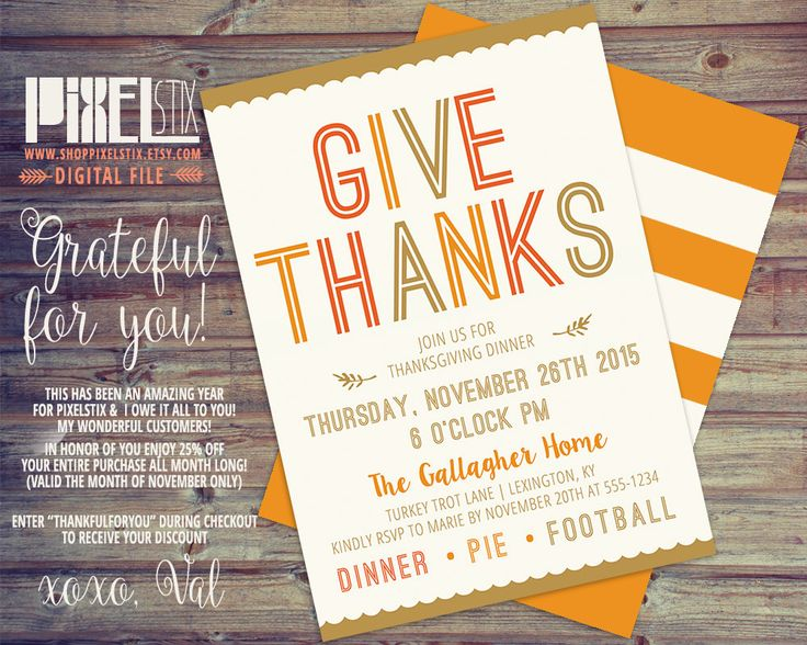 13 best PixelStix Thanksgiving Invitations images on Pinterest - printable dinner invitations