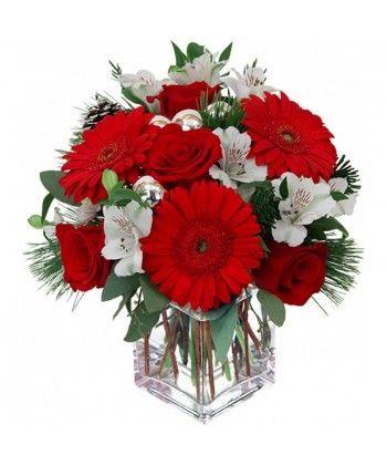 Buchet de craciun cu trandafiri, gerbera si alstroemeria