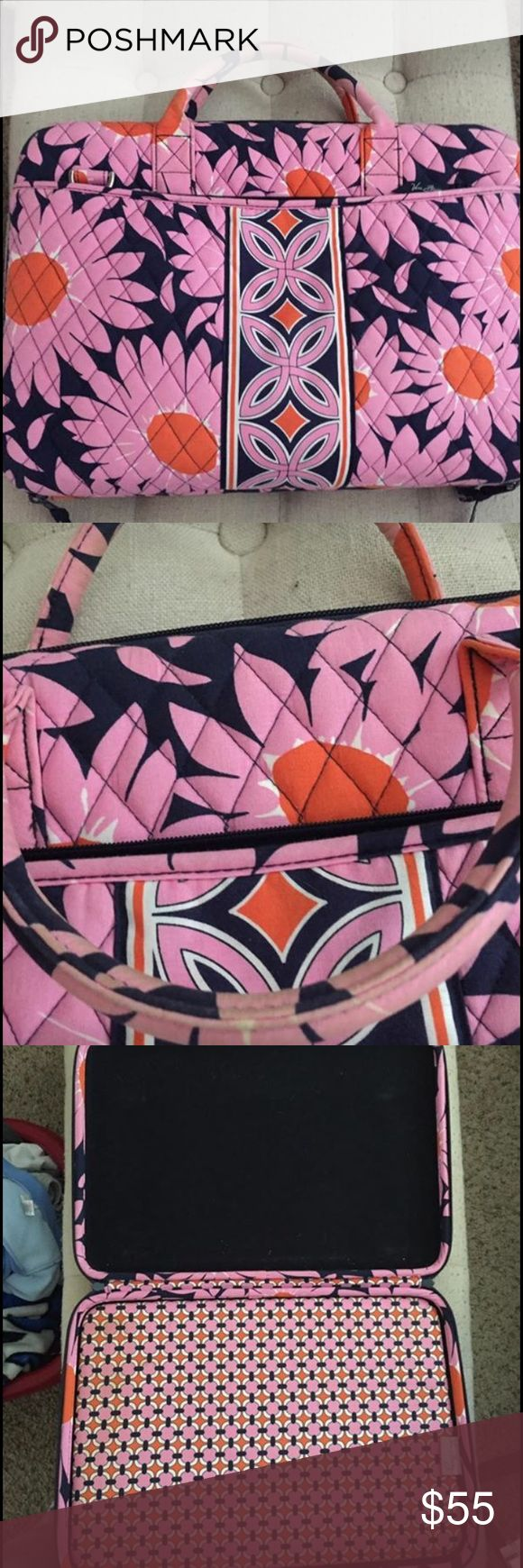 Vera Bradley laptop case Holds 16in. Computer comes with shoulder strap. The handles show a bit of dirt but nothing major Vera Bradley Accessories Laptop Cases