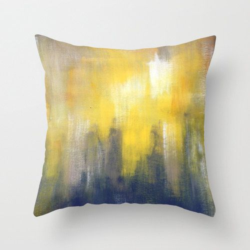 Grey and Yellow Pillow - Throw Pillow - Modern Home Decor Throw Pillow Cover made from 100% spun polyester poplin fabric, a stylish statement that