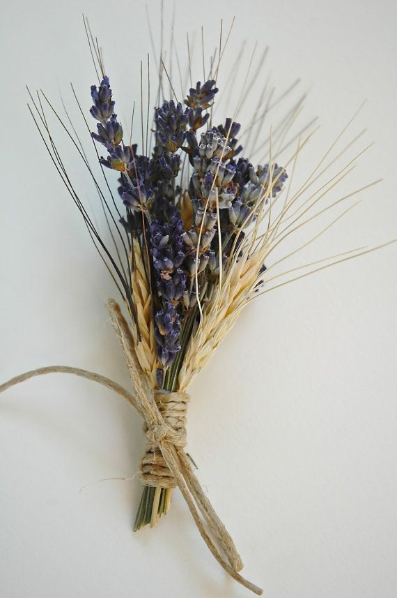 3 Custom Lavender  and Wheat Boutonnieres or by paulajeansgarden, $21.00