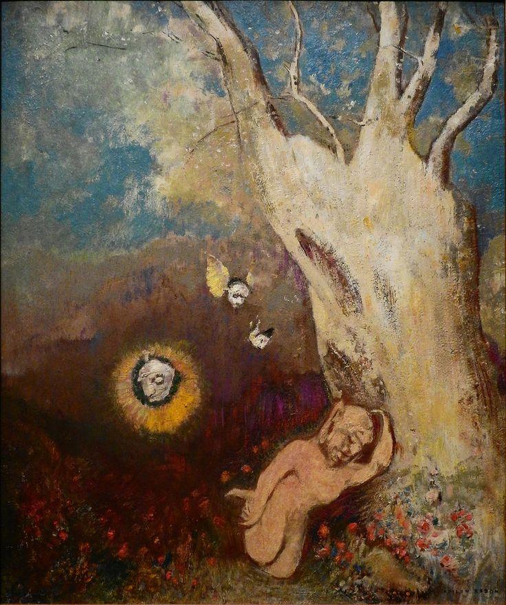 """REDON Odilon,1895-1900 - Le Sommeil de Caliban (Orsay) - 0  -  TAGS/ art painter peintre details détail détails detalles painting paintings  peintures  """"peintures 19e"""" """"19th-century paintings"""" Museum Paris France sleep endormi asleep symbolism symbolisme """"ciel bleu"""" """"blue sky"""" pink rose cloud flowers visage portrait face model """"naked man"""" naked nude bare man flowers fleurs soleil sun """"poisson volant"""" """"flying fish"""" """"visage ailé"""" """"winged face"""" wings arbre tree wood bois"""