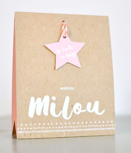 Hippe geboortekaart - Label ster Milou - Tag