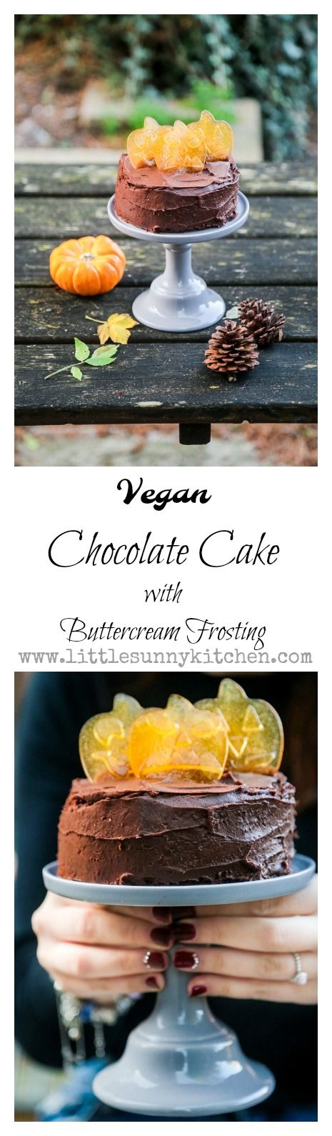 Vegan chocolate cake with buttercream frosting and pumpkin shaped candy for Halloween