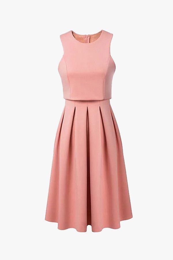 Black Or Pink Fit Flare Pleated Midi Dress Pleated